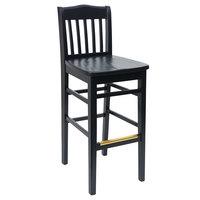 BFM Seating ZWB303BL-BL Columbia Black Beechwood Bar Height Chair