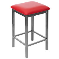 BFM Seating 2510HRDV-CL Trent Clear Coated Steel Counter Height Bar Stool with 2 inch Red Vinyl Seat