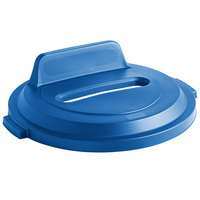 Rubbermaid 2018169 BRUTE 32 Gallon Blue Recycling Bin Lid with Paper Slot and Vertical Billboard