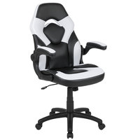 Flash Furniture CH-00095-WH-GG High-Back White LeatherSoft Swivel Office Chair / Video Game Chair with Flip-Up Arms
