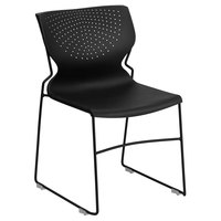 Flash Furniture RUT-438-BK-GG Hercules Black Full Back Stack Chair