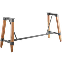 Lancaster Table & Seating Antique Natural Rustic Industrial Wooden Bar Height Trestle Table Base for 30 inch x 96 inch Table Tops