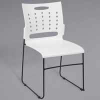 Flash Furniture RUT-2-WH-GG Hercules White Sled Base Stack Chair with Air-Vent Back