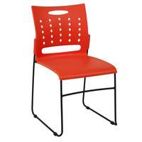 Flash Furniture RUT-2-OR-GG Hercules Orange Sled Base Stack Chair with Air-Vent Back
