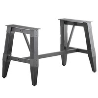 Lancaster Table & Seating Antique Slate Gray Rustic Industrial Wooden Dining Height Trestle Table Base for 30 inch x 60 inch Table Tops