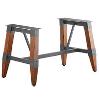 Lancaster Table & Seating Antique Walnut Rustic Industrial Wooden Dining Height Trestle Table Base for 30 inch x 60 inch Table Tops