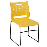 Flash Furniture RUT-2-YL-GG Hercules Yellow Sled Base Stack Chair with Air-Vent Back