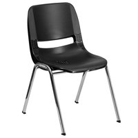Flash Furniture RUT-18-BK-CHR-GG Hercules Black Ergonomic Shell Stack Chair with Chrome Frame
