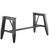 Lancaster Table & Seating Antique Slate Gray Rustic Industrial Wooden Dining Height Trestle Table Base for 30 inch x 72 inch Table Tops