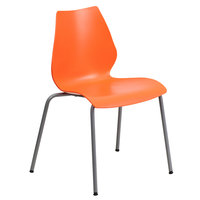 Flash Furniture RUT-288-ORANGE-GG Hercules Orange Stack Chair with Lumbar Support