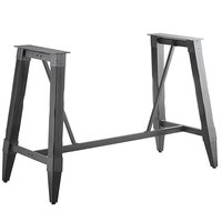 Lancaster Table & Seating Antique Slate Gray Rustic Industrial Wooden Bar Height Trestle Table Base for 30 inch x 72 inch Table Tops