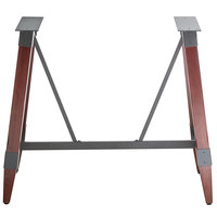 Lancaster Table & Seating Mahogany Rustic Industrial Wooden Bar Height Trestle Table Base for 30 inch x 60 inch Table Tops