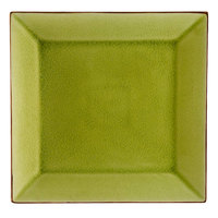 CAC 6-S21-G Japanese Style 11 1/2 inch Square China Plate - Golden Green - 12/Case