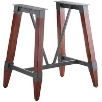 Lancaster Table & Seating Mahogany Rustic Industrial Wooden Bar Height Trestle Table Base for 30 inch x 48 inch Table Tops