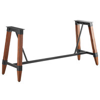 Lancaster Table & Seating Antique Walnut Rustic Industrial Wooden Bar Height Trestle Table Base for 30 inch x 96 inch Table Tops