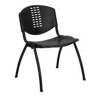 Flash Furniture RUT-NF01A-BK-GG Hercules Black Plastic Stack Chair with Oval Cutout Back