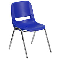 Flash Furniture RUT-18-NVY-CHR-GG Hercules Navy Ergonomic Shell Stack Chair with Chrome Frame