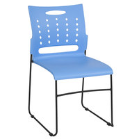 Flash Furniture RUT-2-BL-GG Hercules Blue Sled Base Stack Chair with Air-Vent Back