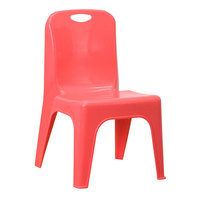 Flash Furniture YU-YCX-011-RED-GG Red Plastic Stackable School Chair with Carrying Handle
