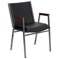 Flash Furniture XU-60154-BK-VYL-GG Hercules Heavy Duty Black Vinyl Stack Chair with Arms