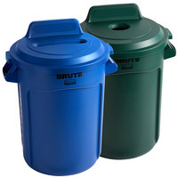 Rubbermaid BRUTE 32 Gallon 2-Stream Recycle Station with Green Bottle / Can and Blue Paper Slot Lids