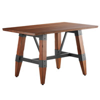 Lancaster Table & Seating 30 inch x 48 inch Solid Wood Live Edge Dining Height Table with Legs and Antique Walnut Finish