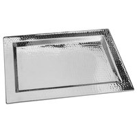 Walco VMT1812 Ironstone 18 inch x 12 inch Stainless Steel Rectangular Serving Tray
