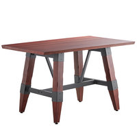 Lancaster Table & Seating 30 inch x 48 inch Solid Wood Live Edge Dining Height Table with Legs and Antique Mahogany Finish