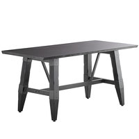 Lancaster Table & Seating 30 inch x 60 inch Solid Wood Live Edge Dining Height Table with Legs and Antique Slate Gray Finish