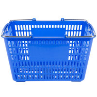 Blue 18 3/4 inch x 11 1/2 inch Plastic Grocery Market Shopping Basket
