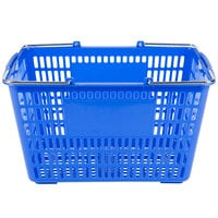 Blue 17 1/4 inch x 11 inch Plastic Grocery Market Shopping Basket