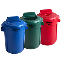 Rubbermaid BRUTE 32 Gallon 3-Stream Recycle Station with Green Open Top, Red Bottle / Can, and Blue Paper Slot Lids