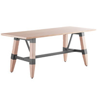 Lancaster Table & Seating 30 inch x 72 inch Solid Wood Live Edge Dining Height Table with Legs and Antique White Wash Finish