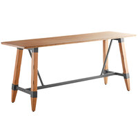 Lancaster Table & Seating 30 inch x 96 inch Solid Wood Live Edge Bar Height Table with Legs and Antique Natural Wood