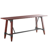 Lancaster Table & Seating 30 inch x 96 inch Solid Wood Live Edge Bar Height Table with Legs and Antique Mahogany Finish