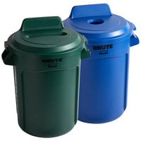 Rubbermaid BRUTE 32 Gallon 2-Stream Recycle Station with Blue Bottle / Can and Green Paper Slot Lids