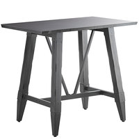 Lancaster Table & Seating 30 inch x 48 inch Solid Wood Live Edge Bar Height Table with Legs and Antique Slate Gray Finish