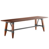 Lancaster Table & Seating 30 inch x 96 inch Solid Wood Live Edge Dining Height Table with Legs and Antique Walnut Finish