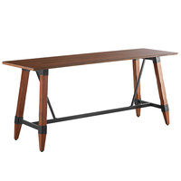 Lancaster Table & Seating 30 inch x 96 inch Solid Wood Live Edge Bar Height Table with Legs and Antique Walnut Finish