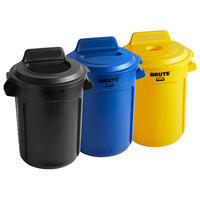 Rubbermaid BRUTE 32 Gallon 3-Stream Recycle Station with Black Open Top, Yellow Bottle / Can, and Blue Paper Slot Lids
