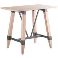 Lancaster Table & Seating 30 inch x 48 inch Solid Wood Live Edge Bar Height Table with Legs and Antique White Wash Finish