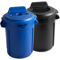 Rubbermaid BRUTE 32 Gallon 2-Stream Recycle Station with Black Open Top and Blue Mixed Recycle Lids