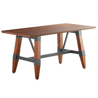 Lancaster Table & Seating 30 inch x 60 inch Solid Wood Live Edge Dining Height Table with Legs and Antique Walnut Finish