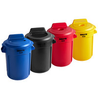 Rubbermaid BRUTE 32 Gallon 4-Stream Recycle Station with Black Open Top, Blue Paper Slot, Red Bottle / Can, and Yellow Bottle / Can Lids