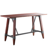Lancaster Table & Seating 30 inch x 72 inch Solid Wood Live Edge Bar Height Table with Legs and Antique Mahogany Finish