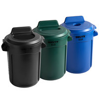 Rubbermaid BRUTE 32 Gallon 3-Stream Recycle Station with Black Open Top, Blue Bottle / Can, and Green Paper Slot Lids