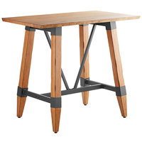 Lancaster Table & Seating 30 inch x 48 inch Solid Wood Live Edge Bar Height Table with Legs and Antique Natural Wood