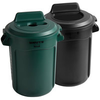Rubbermaid BRUTE 32 Gallon 2-Stream Recycle Station with Black Open Top and Green Mixed Recycle Lids