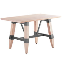 Lancaster Table & Seating 30 inch x 48 inch Solid Wood Live Edge Dining Height Table with Legs and Antique White Wash Finish