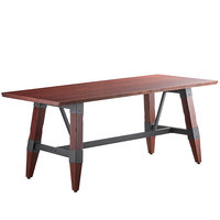 Lancaster Table & Seating 30 inch x 72 inch Solid Wood Live Edge Dining Height Table with Legs and Antique Mahogany Finish